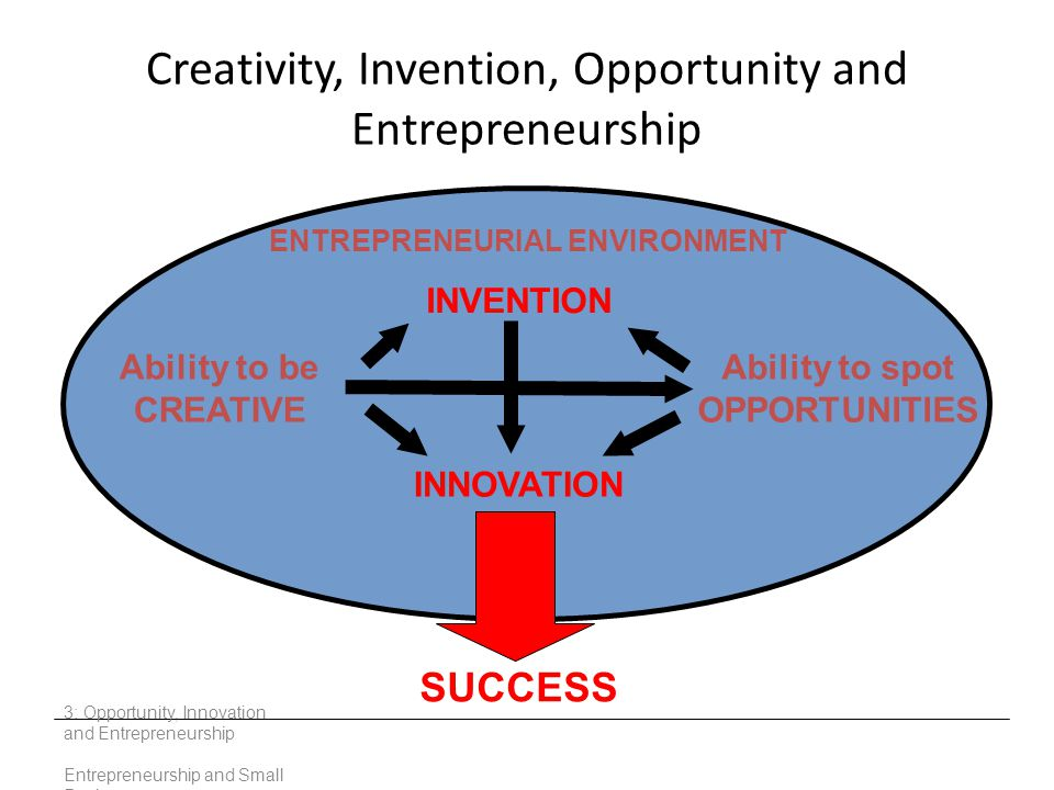 Creativity, Invention, Opportunity and Entrepreneurship