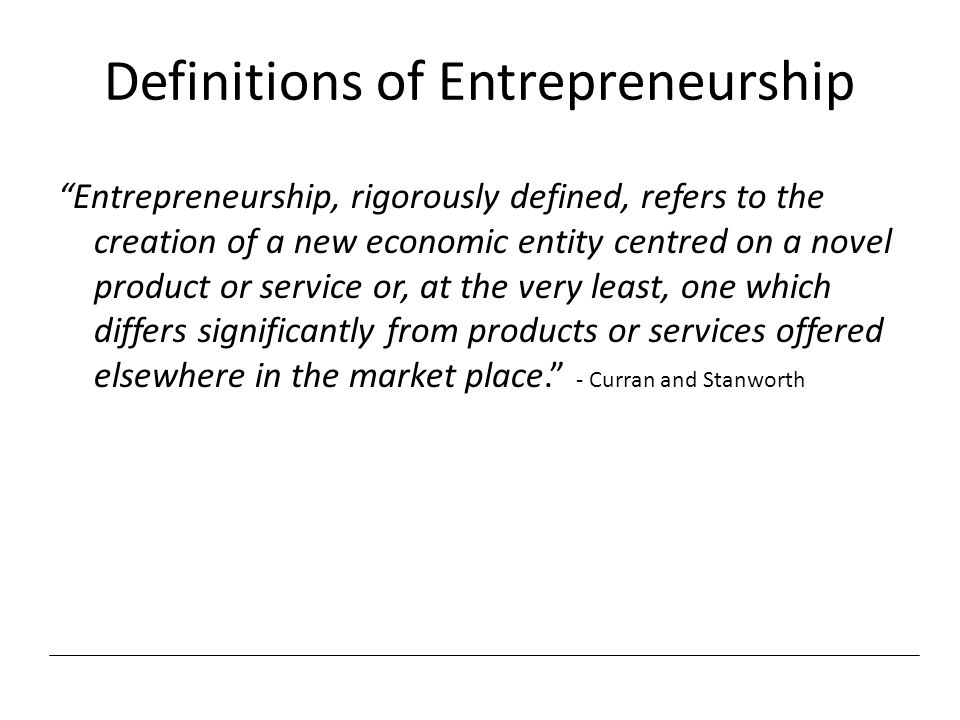 Definitions of Entrepreneurship