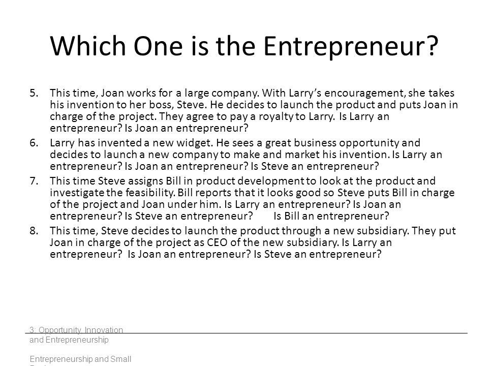 Which One is the Entrepreneur