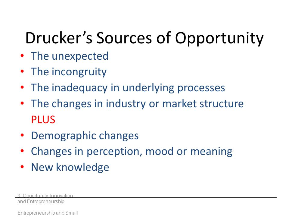 Drucker's Sources of Opportunity