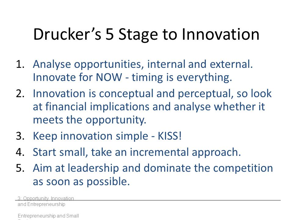 Drucker's 5 Stage to Innovation