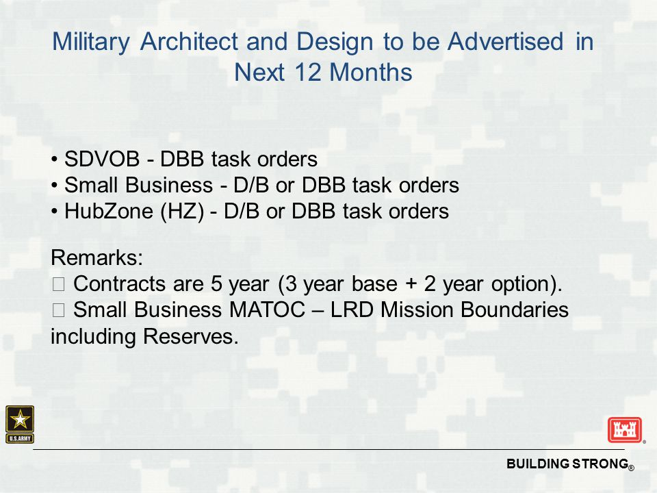 Military Architect and Design to be Advertised in Next 12 Months
