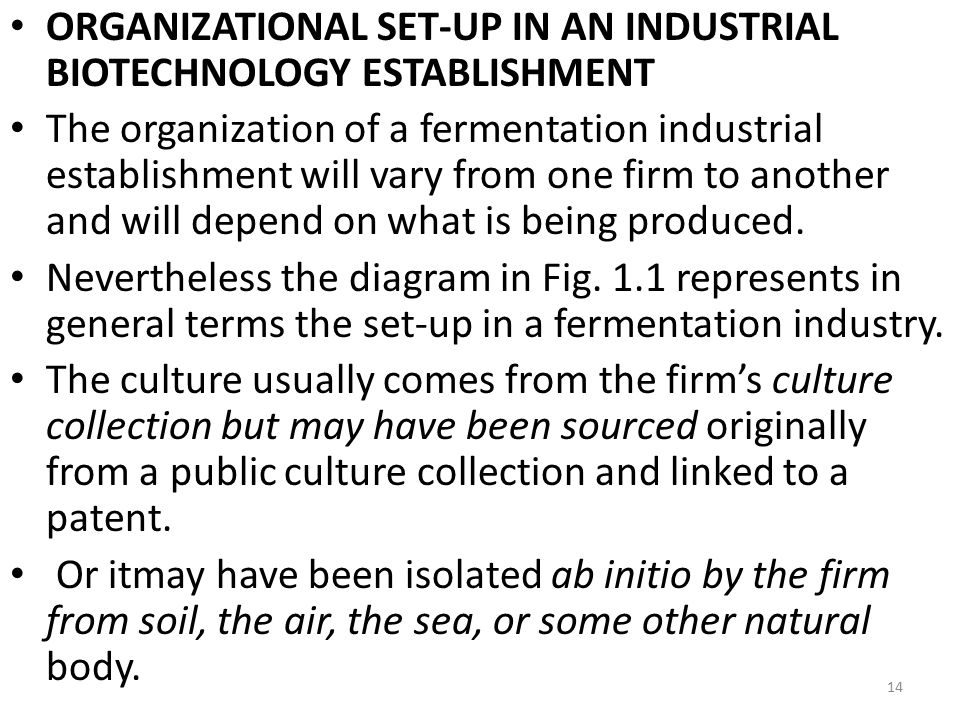 ORGANIZATIONAL SET-UP IN AN INDUSTRIAL BIOTECHNOLOGY ESTABLISHMENT