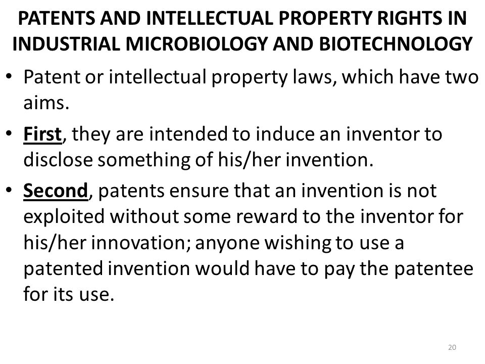 PATENTS AND INTELLECTUAL PROPERTY RIGHTS IN INDUSTRIAL MICROBIOLOGY AND BIOTECHNOLOGY