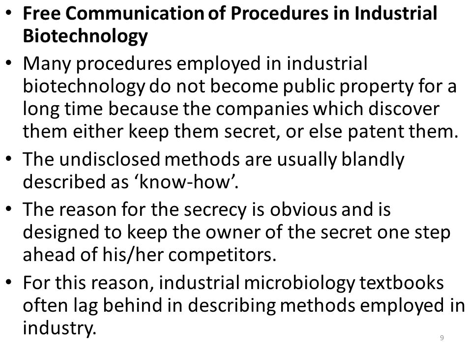 Free Communication of Procedures in Industrial Biotechnology