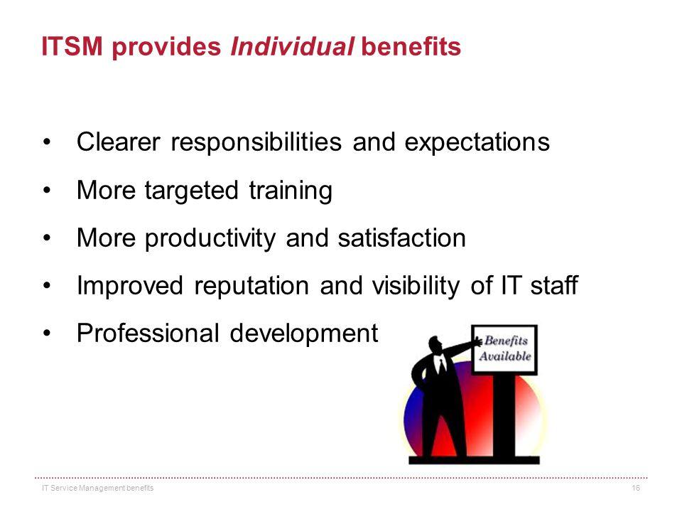 ITSM provides Individual benefits