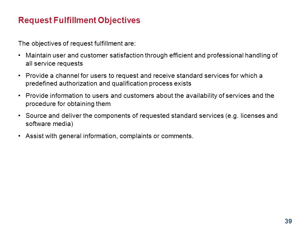 Request Fulfillment Objectives