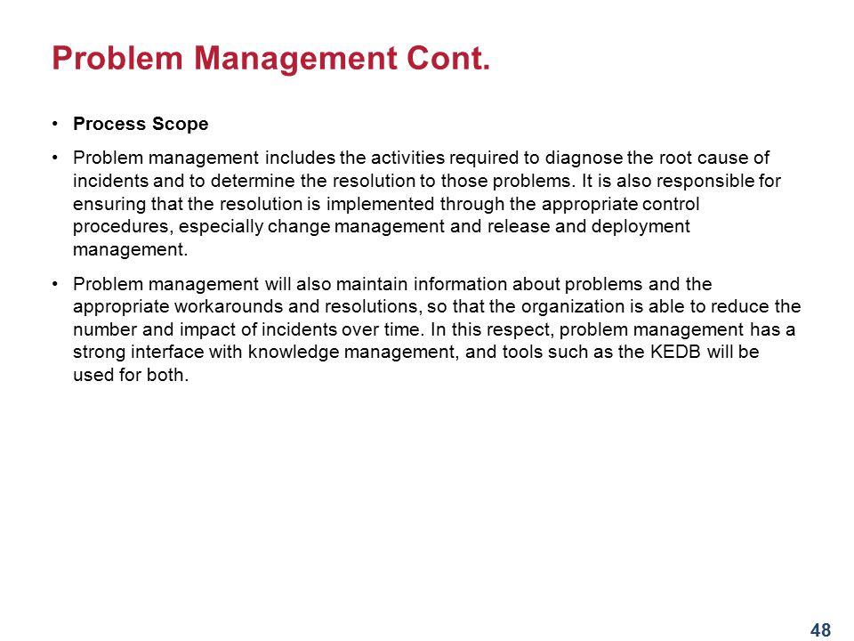 Problem Management Cont.