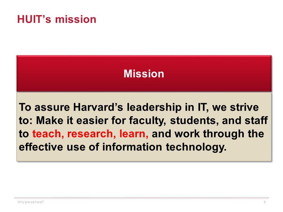 HUIT's mission Mission