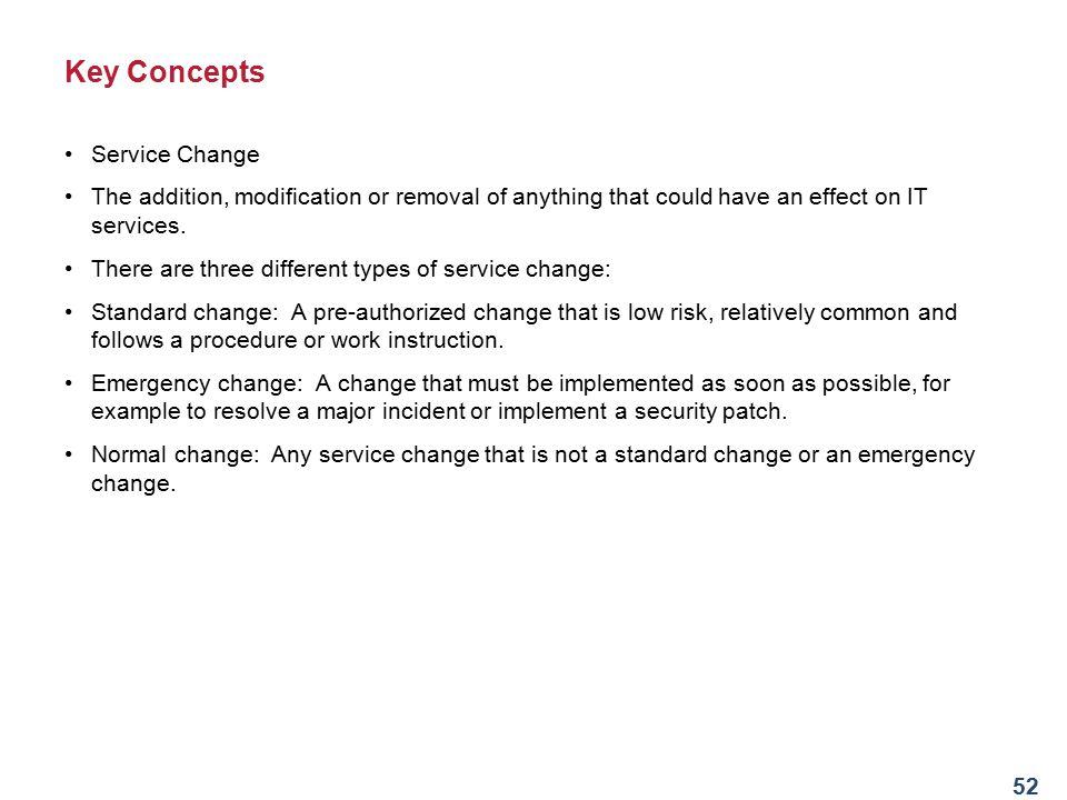 Key Concepts Service Change