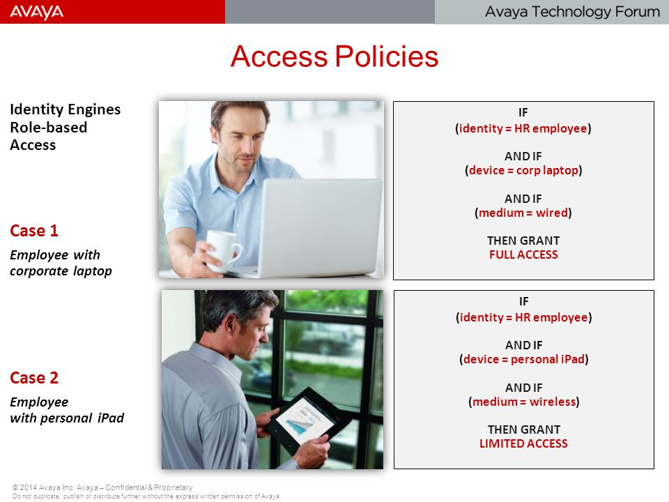 Access Policies Case 1 Case 2 Identity Engines Role-based Access