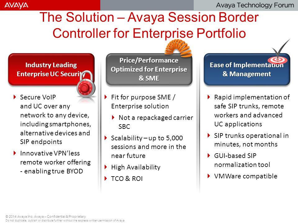 The Solution – Avaya Session Border Controller for Enterprise Portfolio