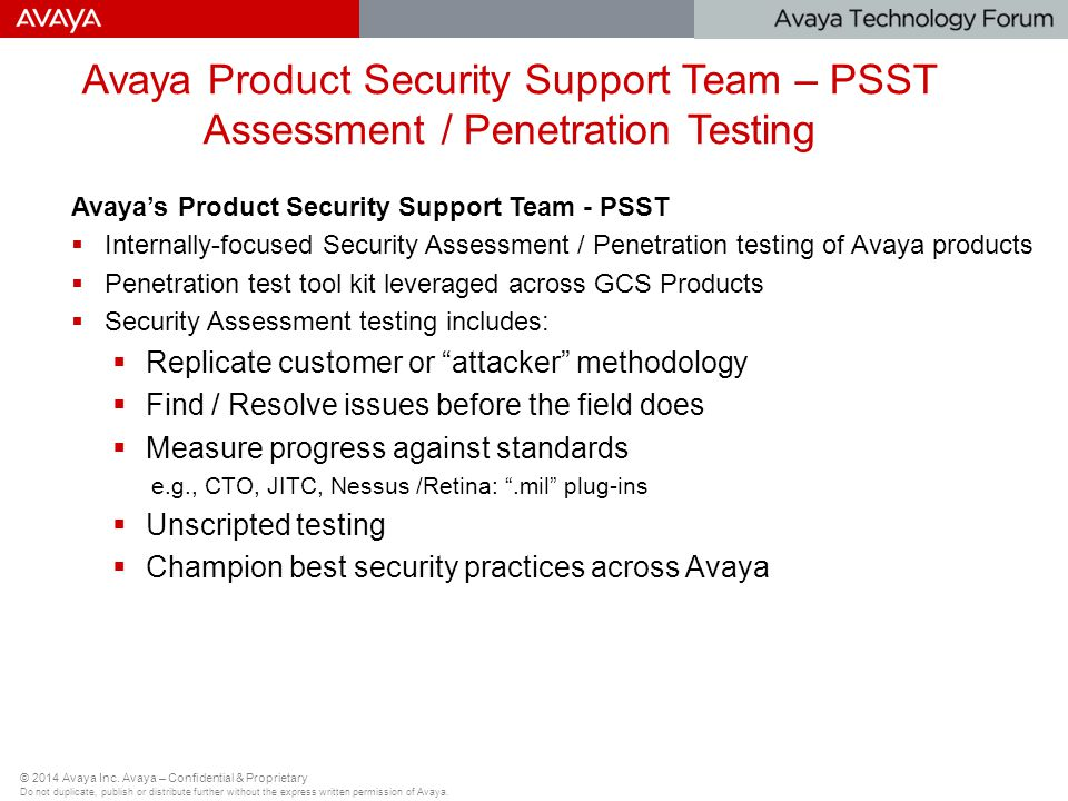 Avaya Product Security Support Team – PSST Assessment / Penetration Testing