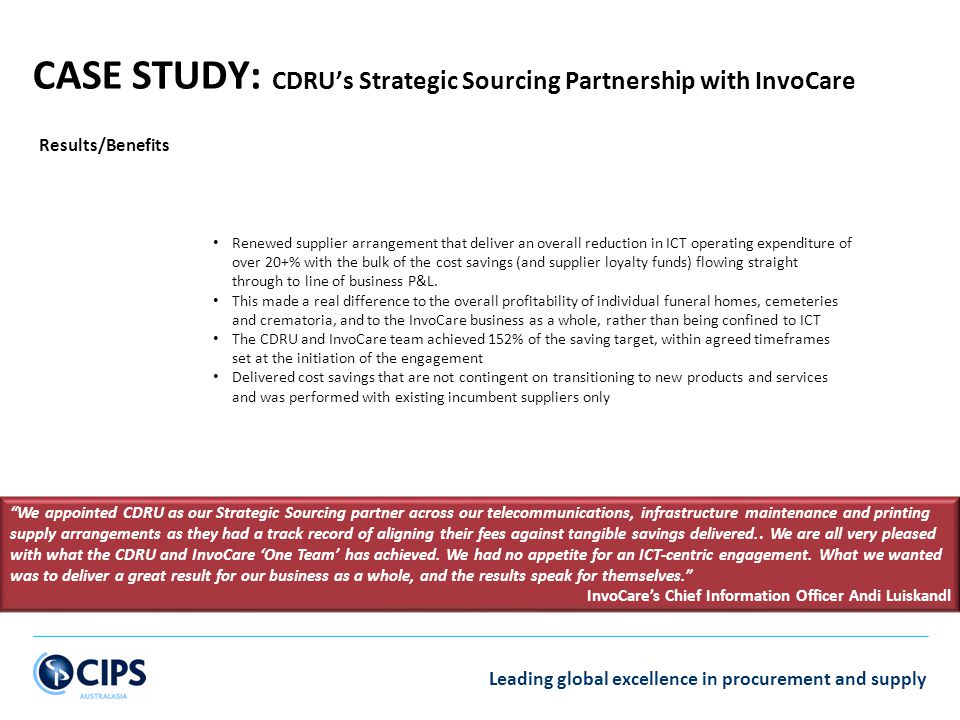 CASE STUDY: CDRU's Strategic Sourcing Partnership with InvoCare