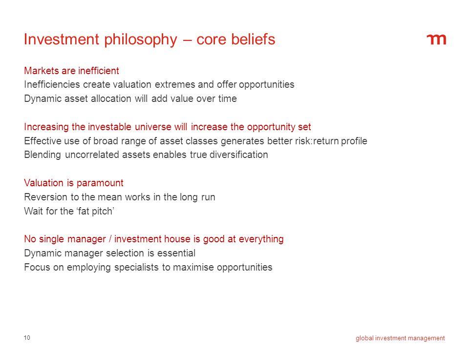 Investment philosophy – core beliefs