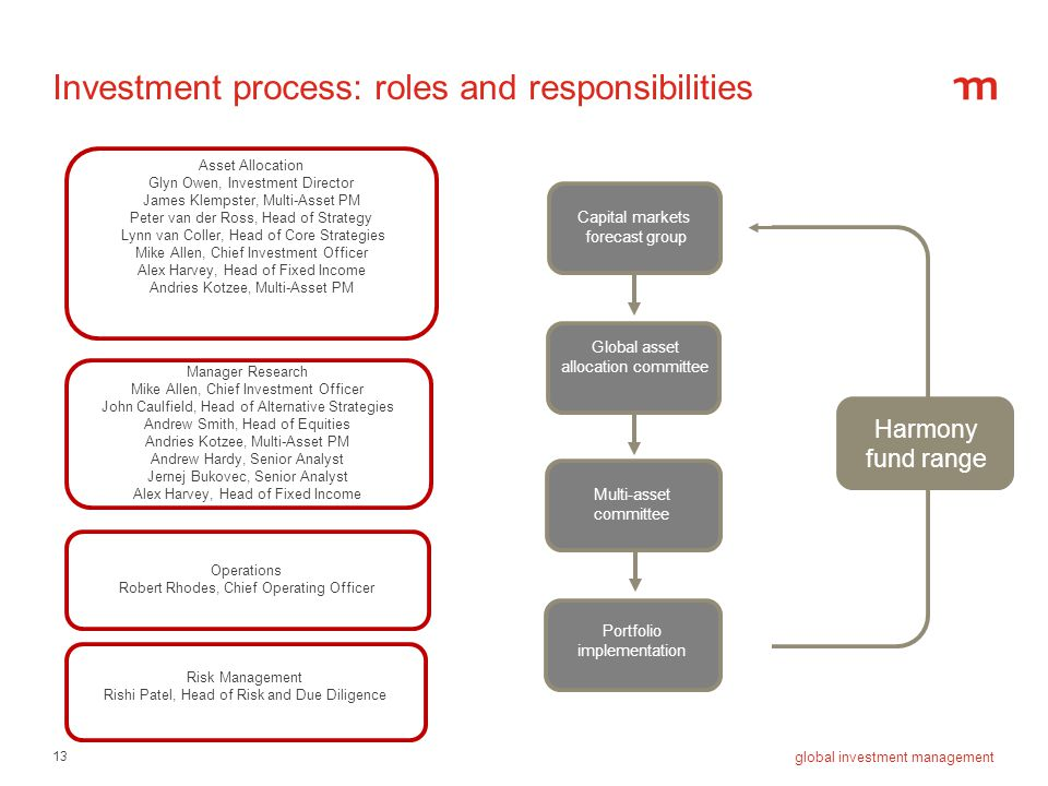 Investment process: roles and responsibilities