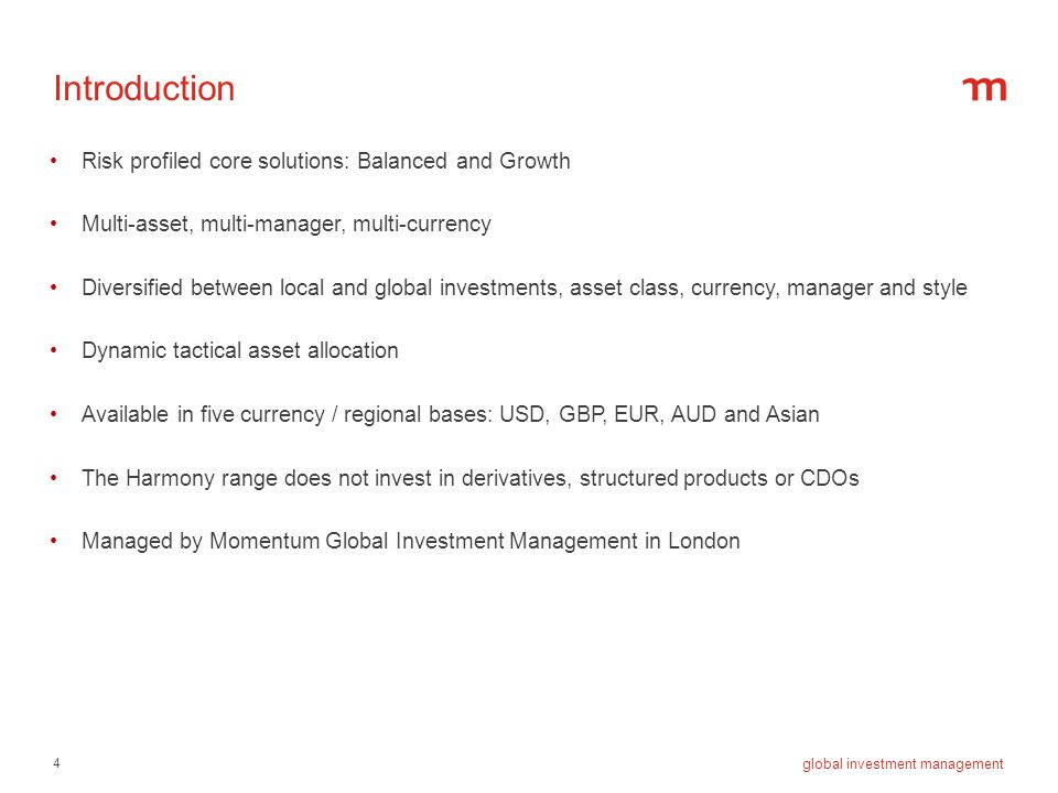 Introduction Risk profiled core solutions: Balanced and Growth