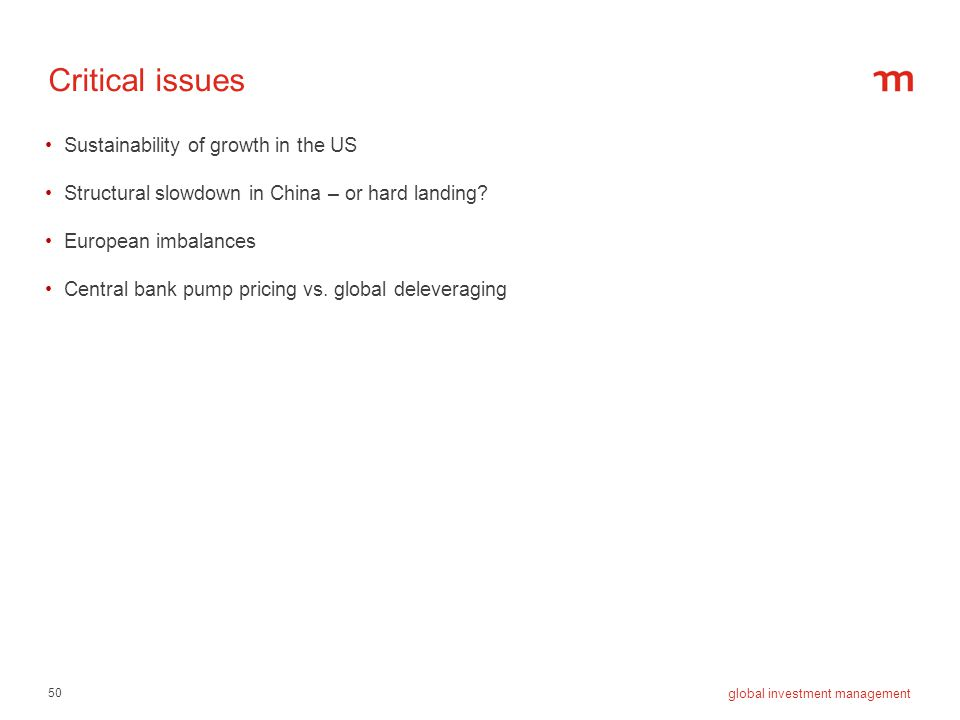 Critical issues Sustainability of growth in the US