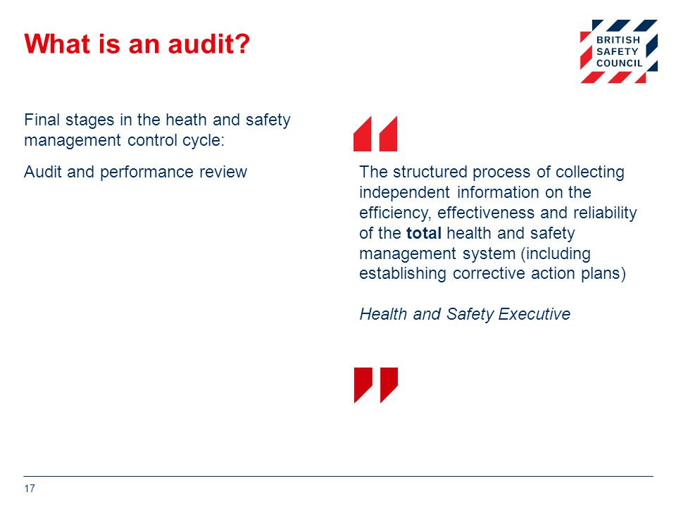 What is an audit Final stages in the heath and safety management control cycle: Audit and performance review