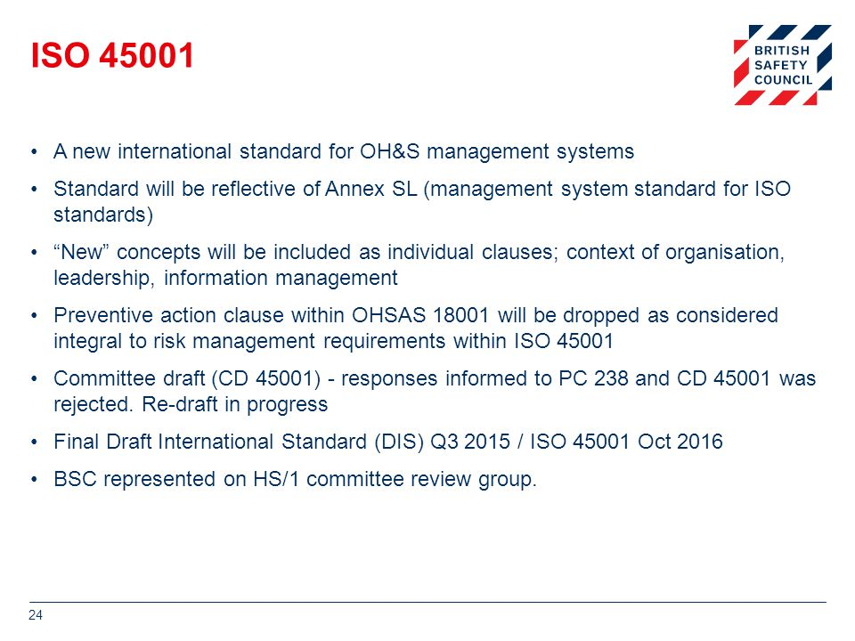 ISO 45001 A new international standard for OH&S management systems