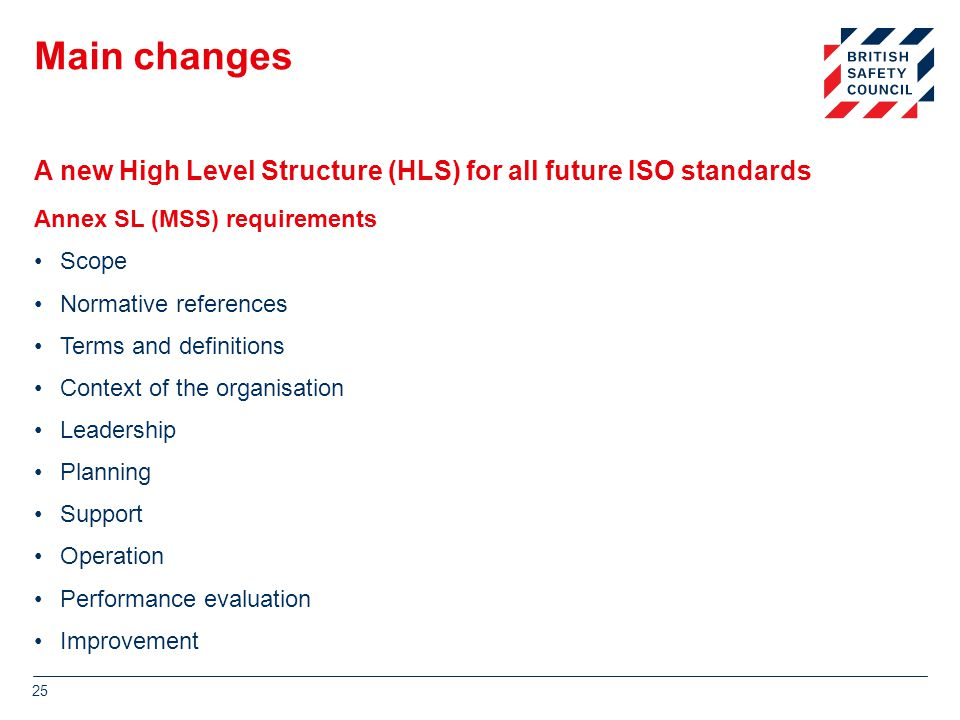 A new High Level Structure (HLS) for all future ISO standards