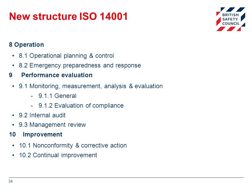 New structure ISO 14001 8 Operation 8.1 Operational planning & control