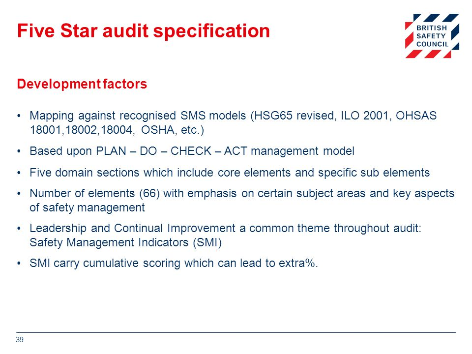 Five Star audit specification