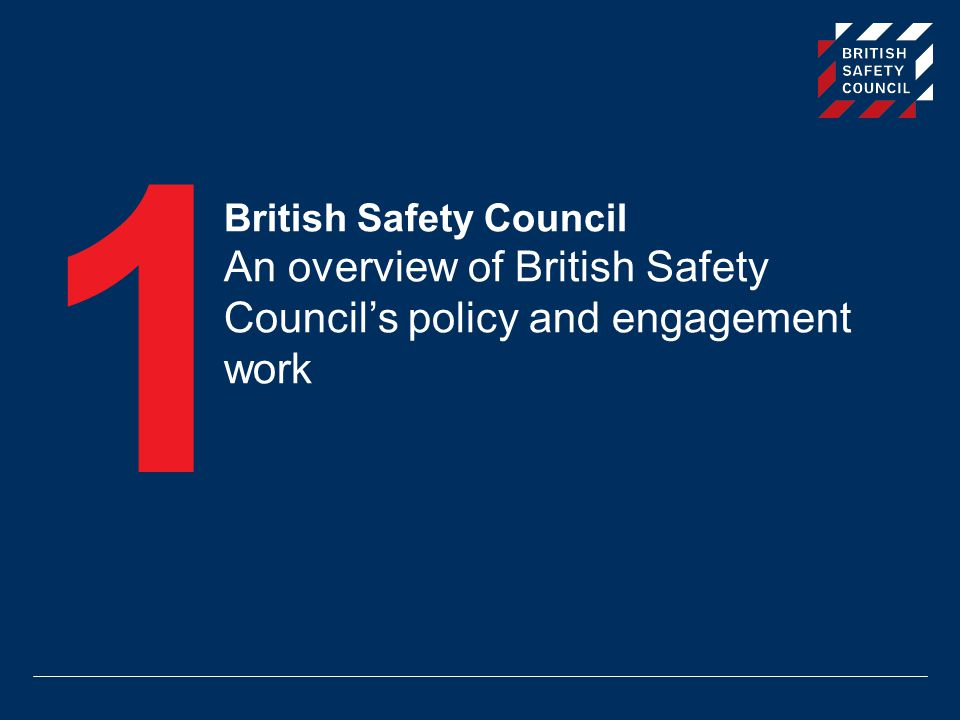 1 British Safety Council An overview of British Safety Council's policy and engagement work