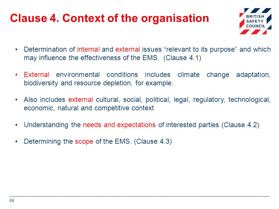 Clause 4. Context of the organisation
