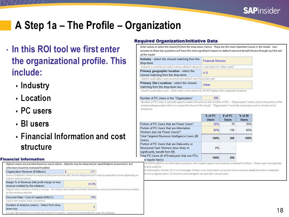 A Step 1b – The Profile – Financial Information