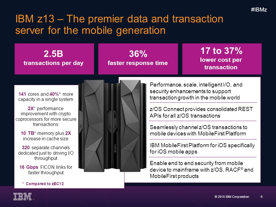 IBM z13 – The premier data and transaction server for the mobile generation