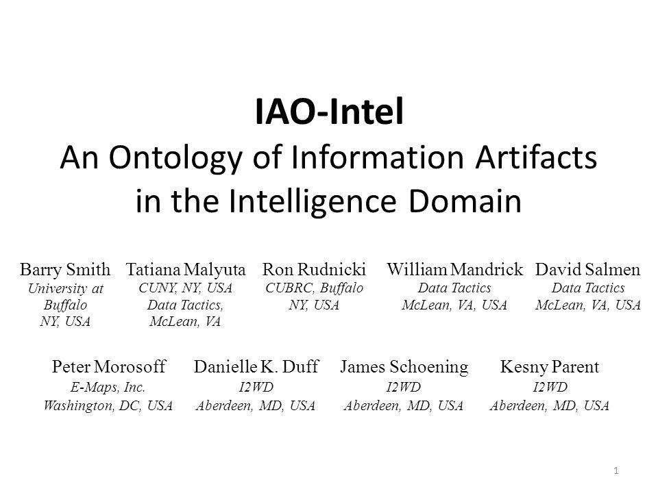 IAO-Intel An Ontology of Information Artifacts in the Intelligence Domain