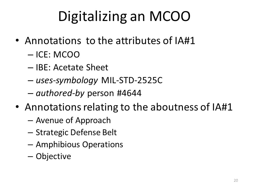 Digitalizing an MCOO Annotations to the attributes of IA#1