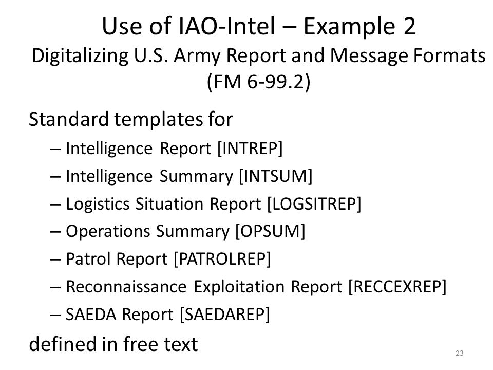Use of IAO-Intel – Example 2 Digitalizing U. S