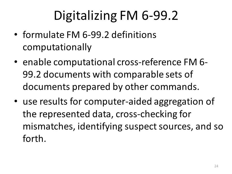 Digitalizing FM 6-99.2 formulate FM 6-99.2 definitions computationally