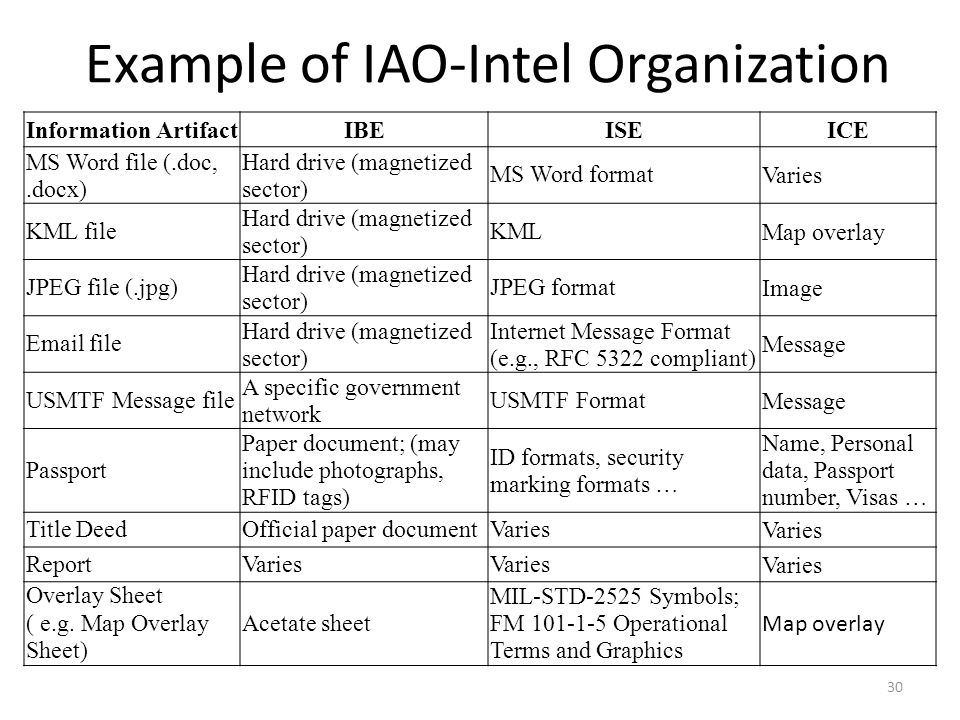 Example of IAO-Intel Organization