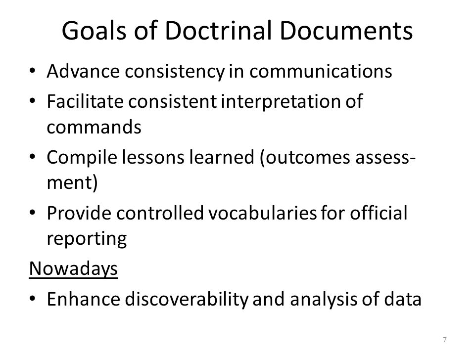 Goals of Doctrinal Documents