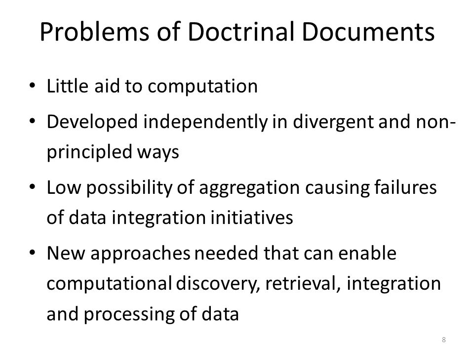 Problems of Doctrinal Documents
