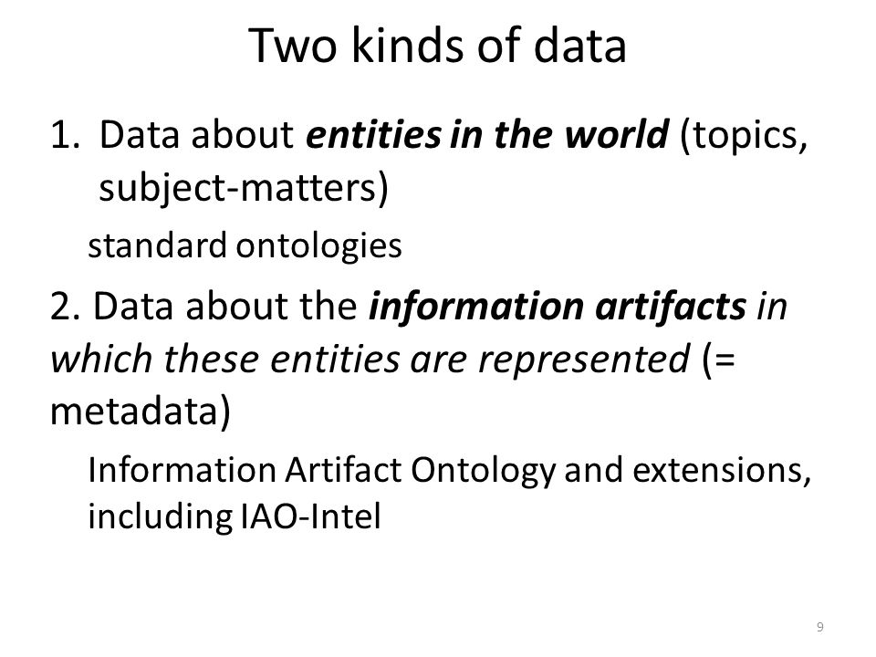 Two kinds of data Data about entities in the world (topics, subject-matters) standard ontologies.