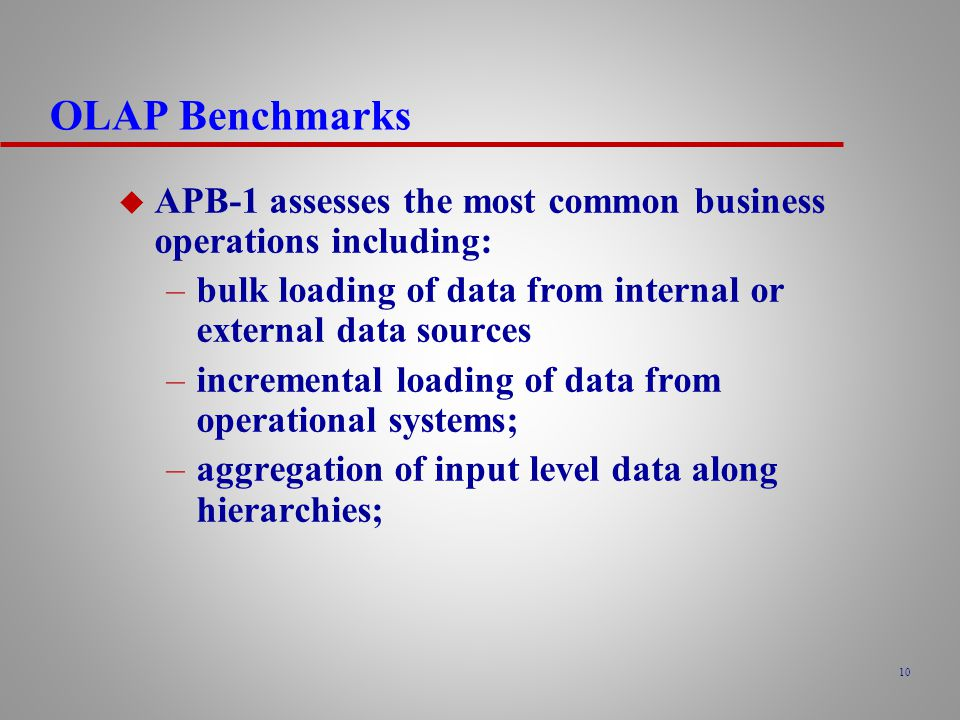 OLAP Benchmarks APB-1 assesses the most common business operations including: bulk loading of data from internal or external data sources.