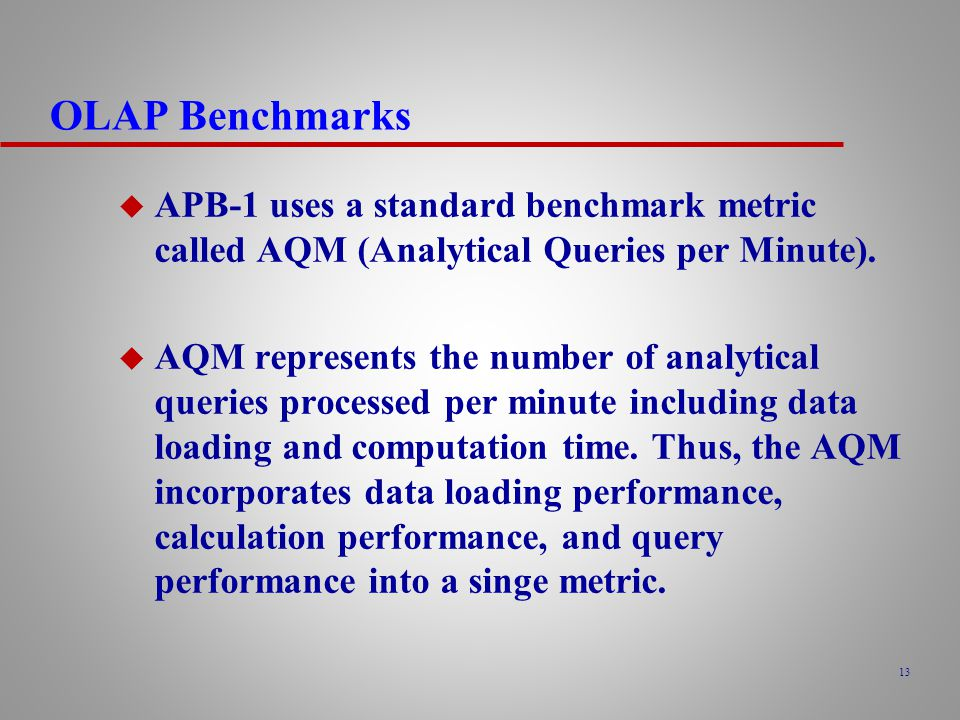 OLAP Benchmarks APB-1 uses a standard benchmark metric called AQM (Analytical Queries per Minute).