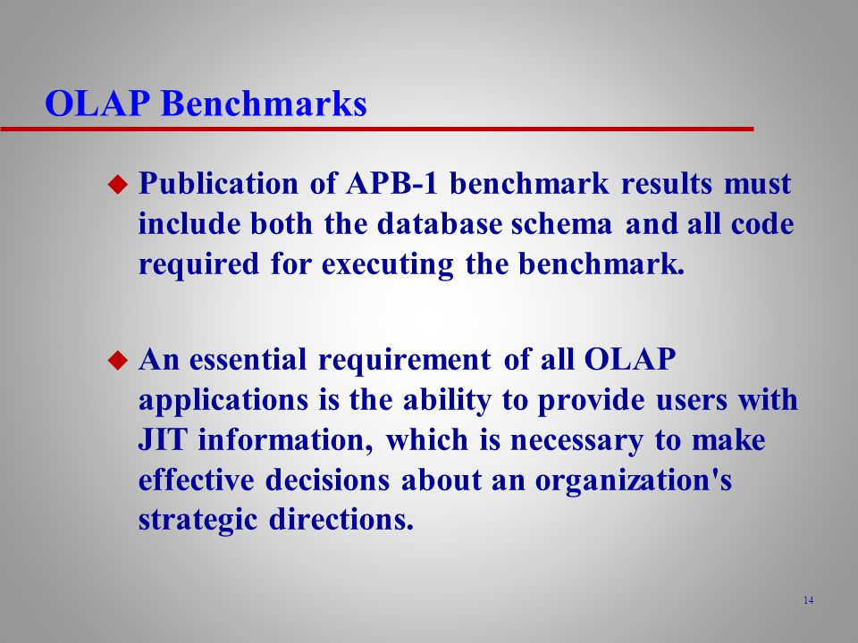OLAP Benchmarks Publication of APB-1 benchmark results must include both the database schema and all code required for executing the benchmark.