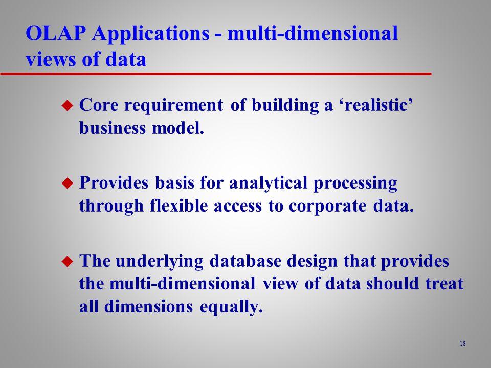 OLAP Applications - multi-dimensional views of data