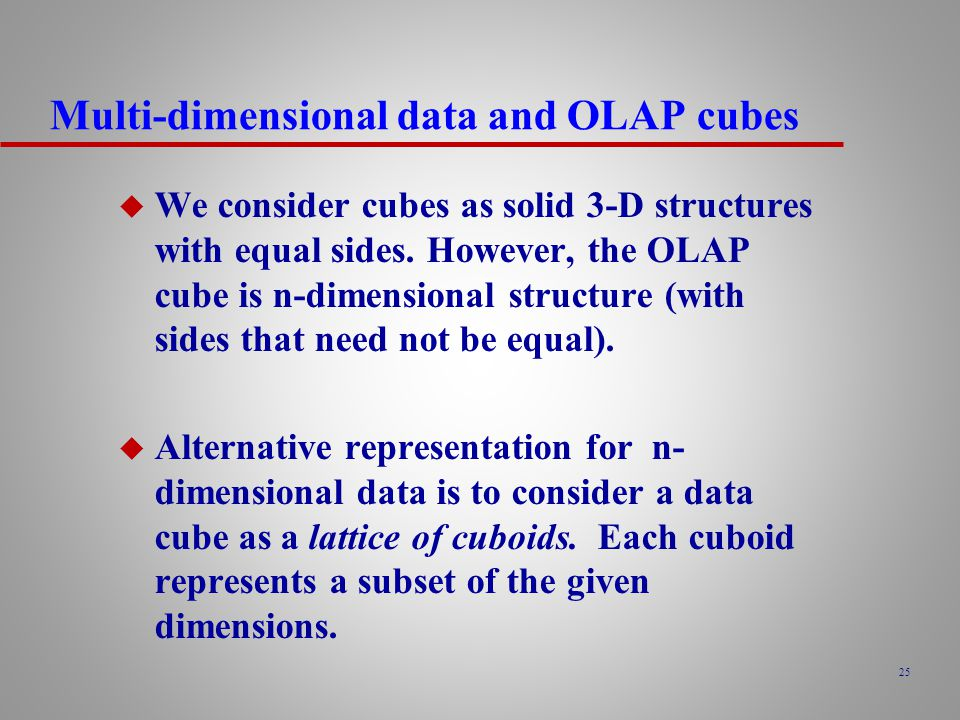 Multi-dimensional data and OLAP cubes