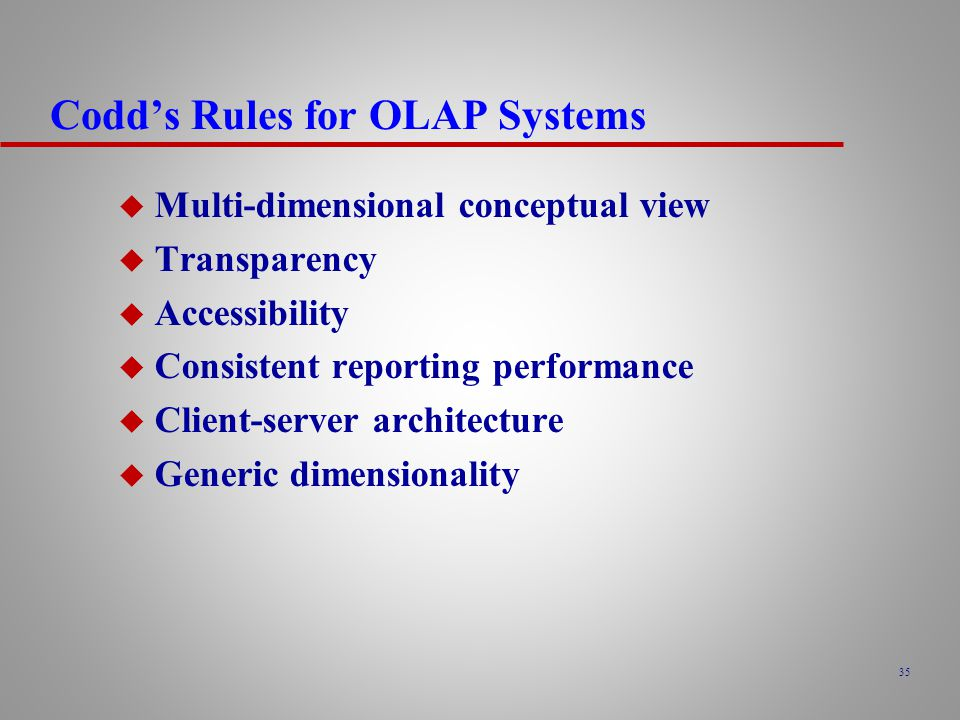 Codd's Rules for OLAP Systems
