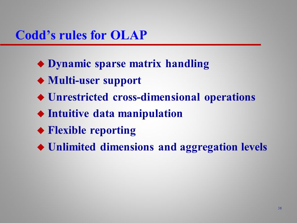 Codd's rules for OLAP Dynamic sparse matrix handling