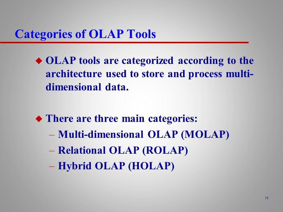 Categories of OLAP Tools