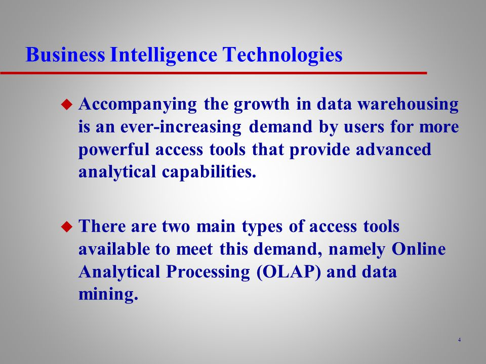 Business Intelligence Technologies