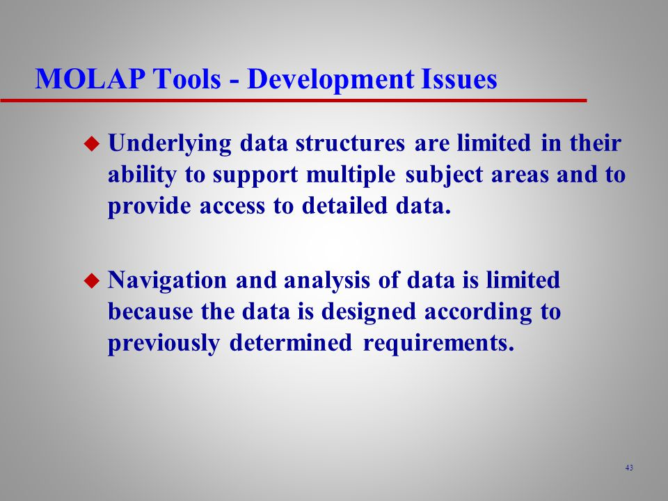 MOLAP Tools - Development Issues