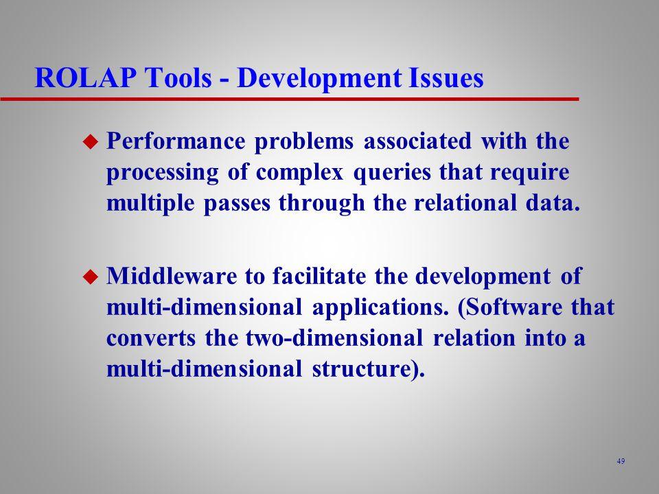 ROLAP Tools - Development Issues